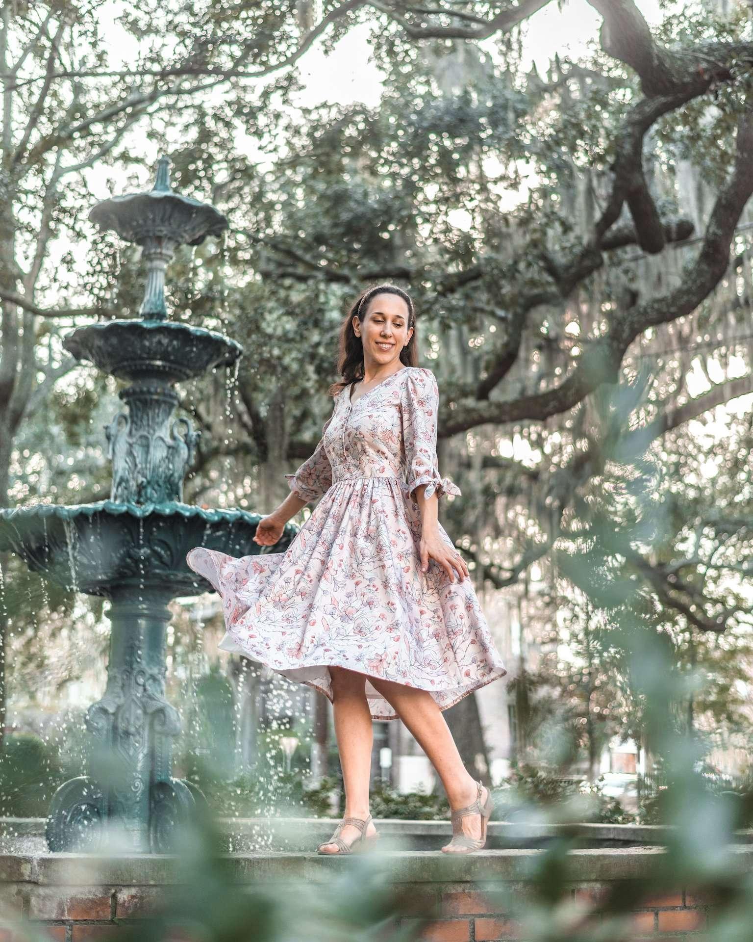 girl at Lafayette Square fountain