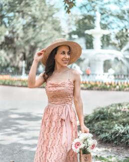 girl in pink dress at Forsyth Park, Savannah