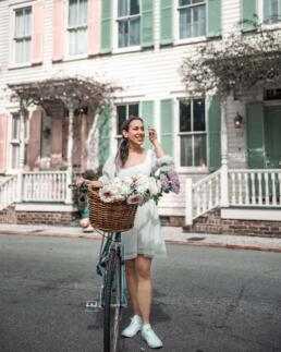 girl with bike at Rainbow Row, Savannah