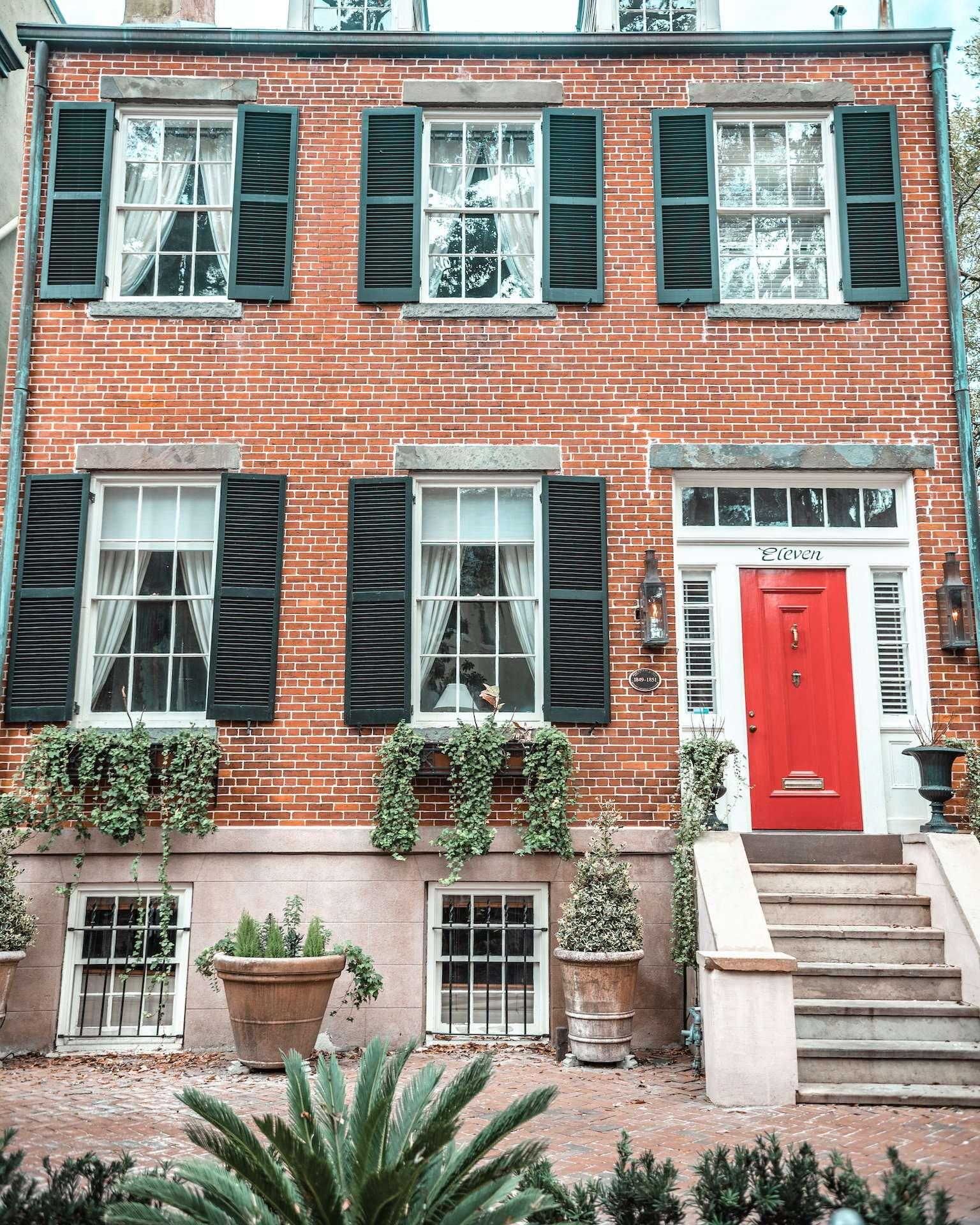 E Jones Street house with red door