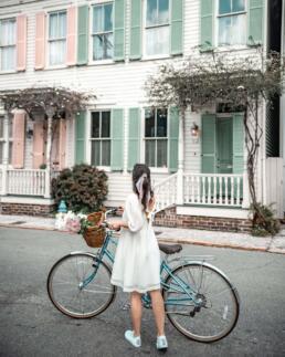 girl with vintage bike at Rainbow Row, Savannah