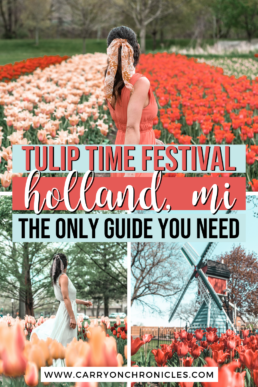 Are you looking to discover beautiful tulip fields in the US? Then you can't miss Tulip Time in Holland, Michigan! As the largest tulip festival in the country, this annual event celebrates Dutch heritage and is one of the best things to do in Michigan in spring. Whether you're planning a fun family vacation or seeking an Instagram-worthy spring photoshoot setting, you'll take your Michigan bucket list to the next level at this Insta-famous tulip festival! #tuliptime #holland #windmillisland